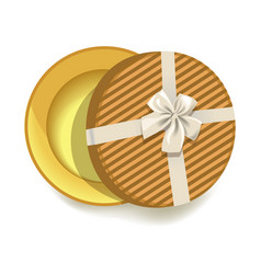 Round striped gift box with tender beige ribbon vector