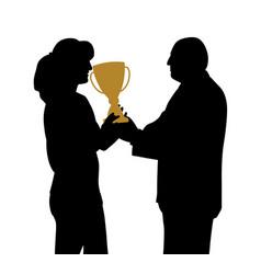 female winner receiving trophy vector image