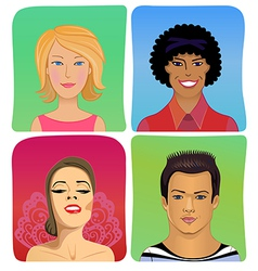 Man woman profile avatar set vector
