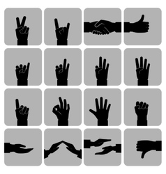 Hands icons set black vector