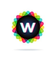 Retro bright colors logotype letter w vector