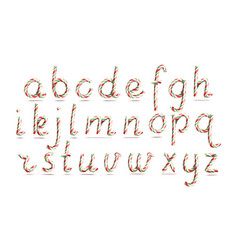 3d realistic candy cane alphabet symbol in vector