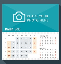 March 2016 desk calendar for 2016 year week starts vector