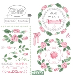 Watercolor pink roses decor brushes and wreath vector