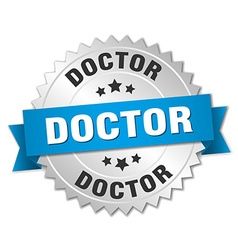 Doctor 3d silver badge with blue ribbon vector