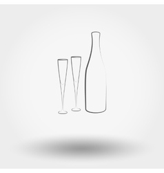Bottle with champagne glasses vector