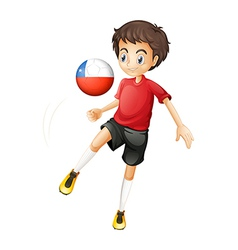 A boy using the ball from Chile vector image