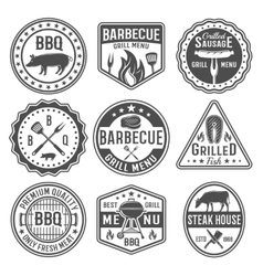 Barbecue Black White Emblems vector image vector image