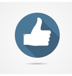 Blue Thumb Up Icon with Long Shadow vector image vector image