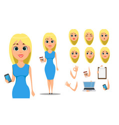 Business woman cartoon character creation set vector