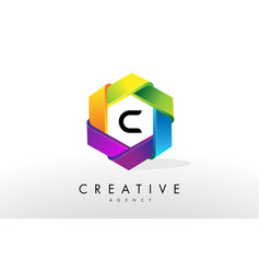 c letter logo corporate hexagon design vector image vector image