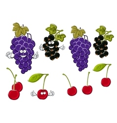 Cartoon grapes cherries black currants fruits vector image