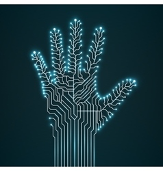Circuit abstract hand vector image vector image