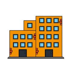 Color silhouette cartoon facade set buildings vector