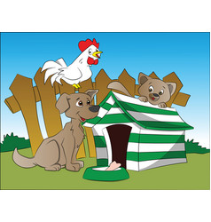 Dog squirrel and hen with a bone in foreground vector