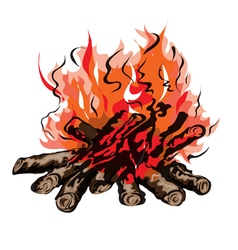 Fire of campfire with firewood vector