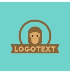 Flat icon on background monkey logo vector