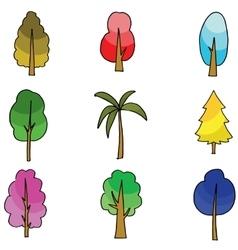 Flat of tree various doodles vector