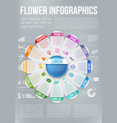 Flower style infographic chart options menu vector
