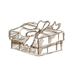 Giff box with bow at black and white engraving vector