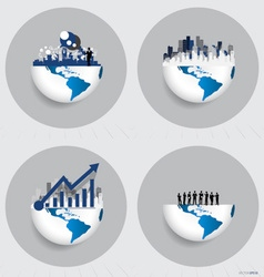 Globe and building with businessman can use for vector
