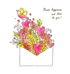 Greeting card with hearts bird and flowers vector image