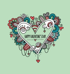 Happy Valentines Day Hand Drawn Doodle vector image vector image
