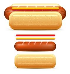 hotdog ketchup mustard stilize vector image vector image