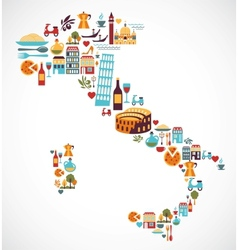 Italy map with icons vector image