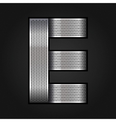 Letter metal chrome ribbon - E vector image vector image