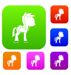 Little pony set color collection vector