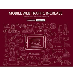 Mobile web traffic concept with Doodle design vector image