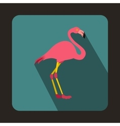 Pink flamingo icon in flat style vector image vector image