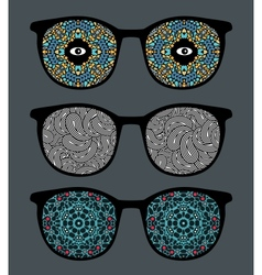 Retro sunglasses with psychedelic reflection vector image