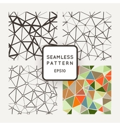 Set of four seamless patterns polygon with vector