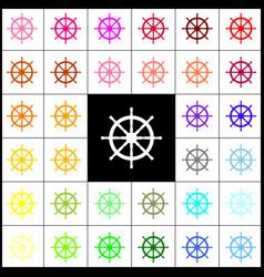 Ship wheel sign felt-pen 33 colorful vector