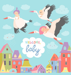 Storks with babies vector