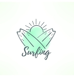 Surfing logo made in hand drawn design Surf icon vector image vector image