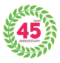 Template Logo 45 Anniversary in Laurel Wreath vector image