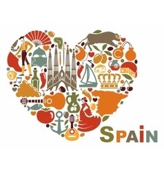 The symbols of spain in heart shape vector