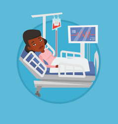 Woman lying in hospital bed vector
