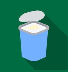 Yogurt in the plastic cup icon in flat style vector