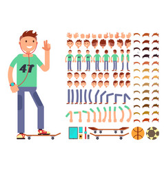 young and happy character creation vector image vector image