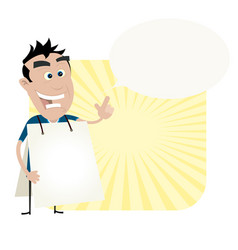Young man holding a sandwich board vector