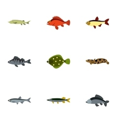 Ocean fish icons set flat style vector