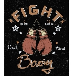 Retro label with boxing gloves vector