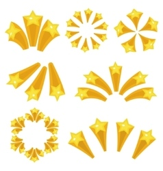 Stars burst icon set cartoon style yellow star vector