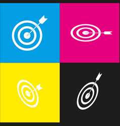 target with dart  white icon with vector image