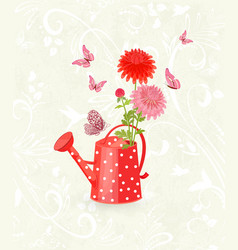 grunge background with lovely chrysanthemums in a vector image
