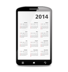 2014 calendar in mobile phone vector